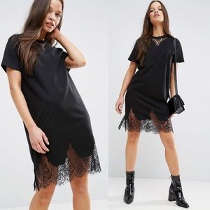 ASOS Lace Trim Black T-Shirt Dress Small / Medium